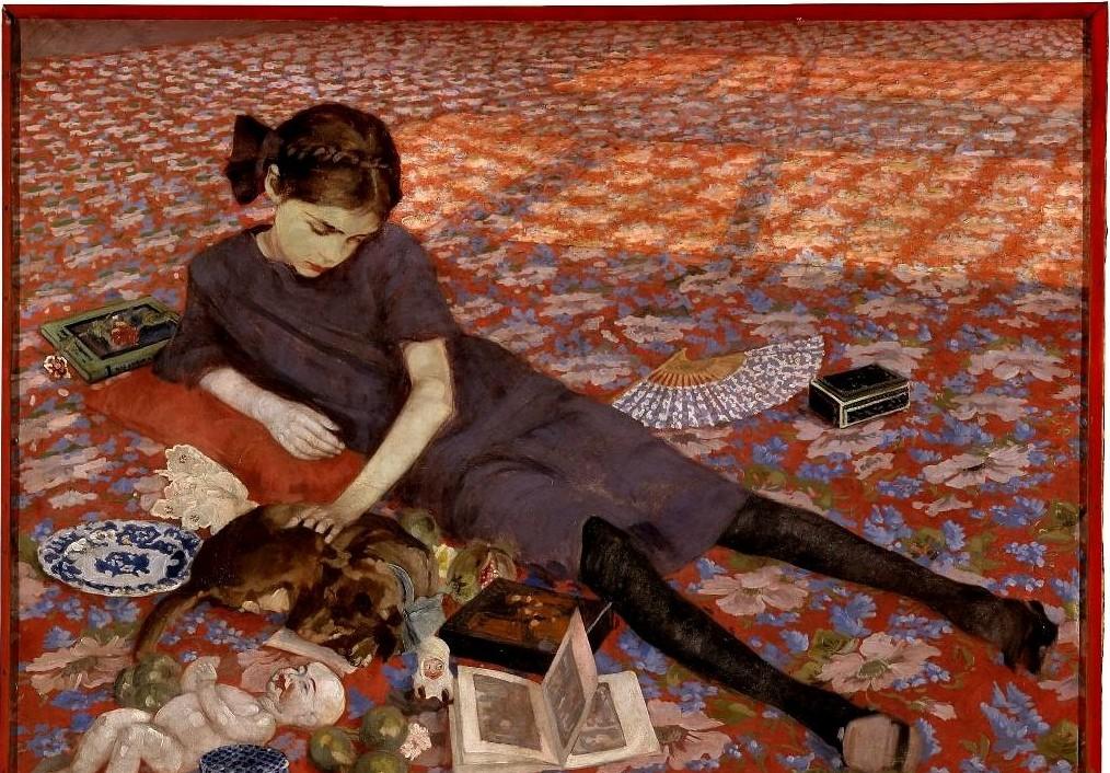 Felice Casorati, Ragazza sul tappeto rosso (particolare)
